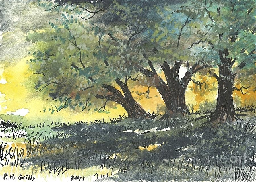 Old Oaks Painting