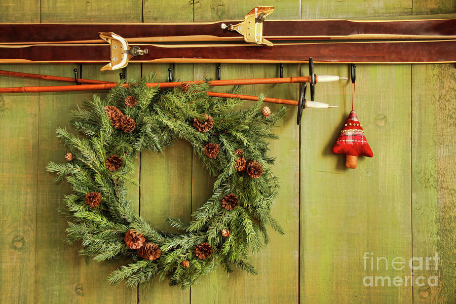 Old Pair Of Skis Hanging With Wreath Photograph  - Old Pair Of Skis Hanging With Wreath Fine Art Print