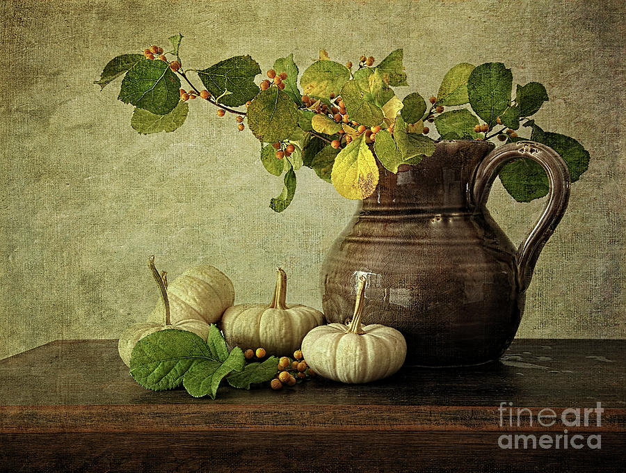 Old Pitcher With Gourds Photograph  - Old Pitcher With Gourds Fine Art Print
