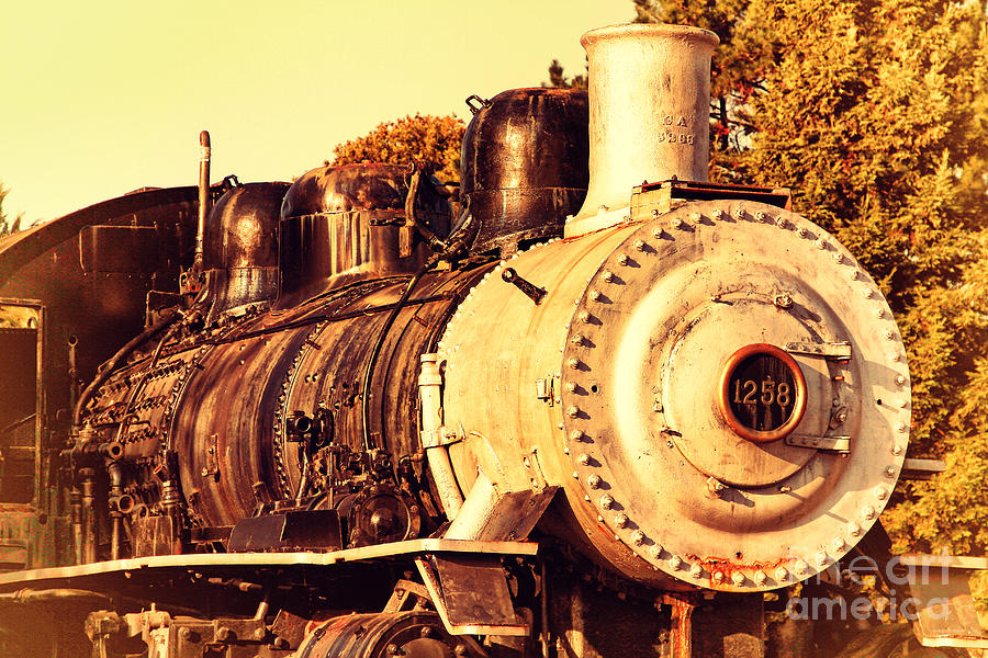 Old Steam Locomotive Engine 1258 . 7d10482 Photograph  - Old Steam Locomotive Engine 1258 . 7d10482 Fine Art Print