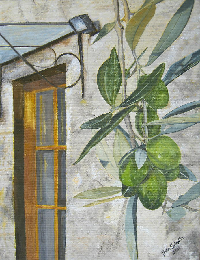 Olives Painting - Olives In Tuscany by John Schuller