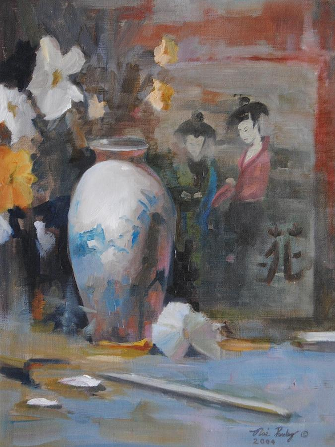 Oriental Vase With Flowers Painting