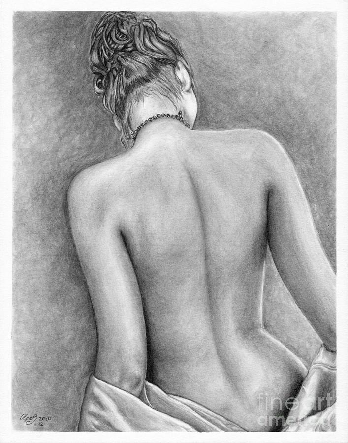 Pencil sketch nude woman