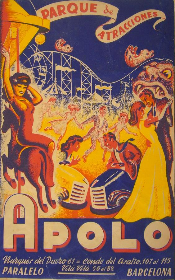 Original Vintage Spanish Poster Apolo Attraction Park Barcelona 1940s Drawing