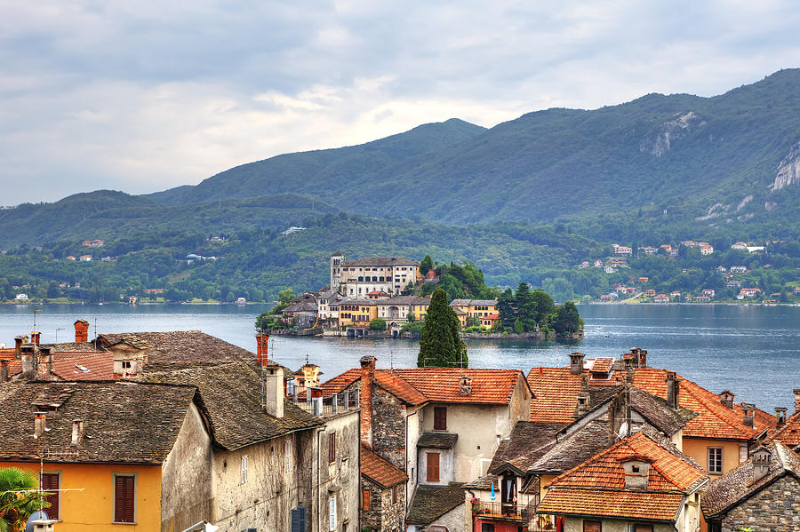 Orta - Overlooking The Island Of San Giulio Photograph  - Orta - Overlooking The Island Of San Giulio Fine Art Print