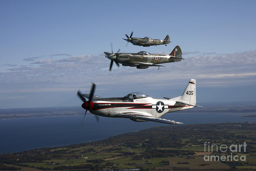 P-51 Cavalier Mustang With Supermarine Photograph  - P-51 Cavalier Mustang With Supermarine Fine Art Print
