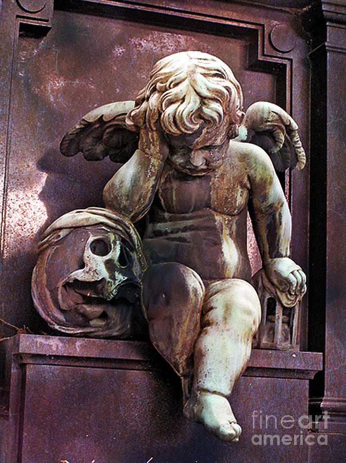 Paris Cemetery - Pere La Chaise - Cherub And Skull Photograph  - Paris Cemetery - Pere La Chaise - Cherub And Skull Fine Art Print