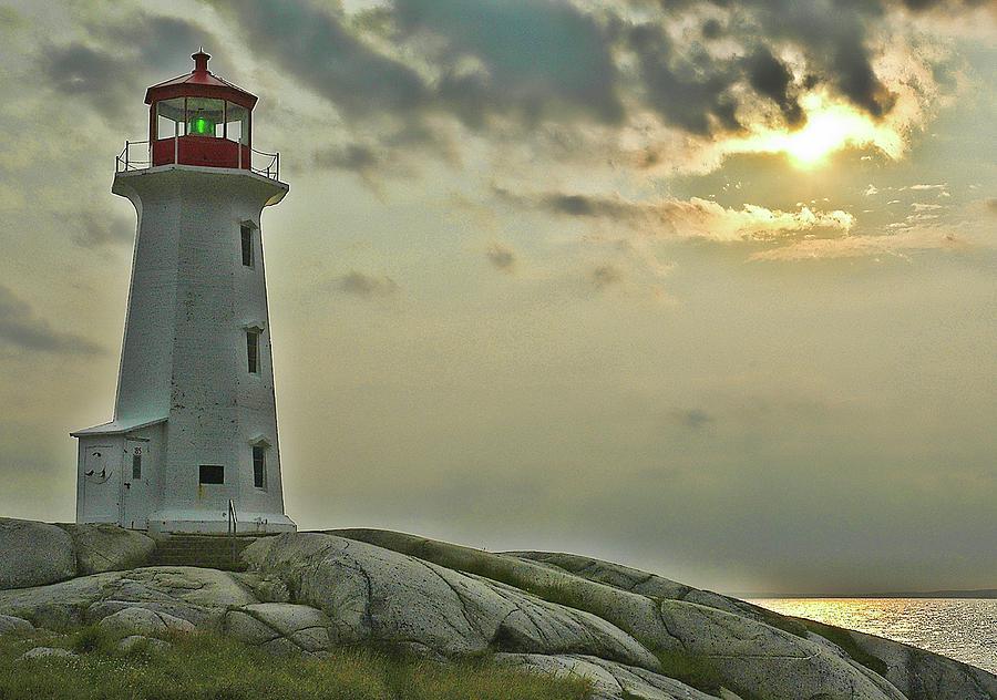 Nova Scotia Photograph - Peggys Cove Lighthouse by Ginette Thibault