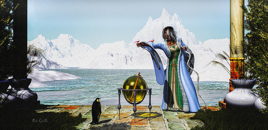 Penguin Magic And The Winter Witch Mixed Media  - Penguin Magic And The Winter Witch Fine Art Print