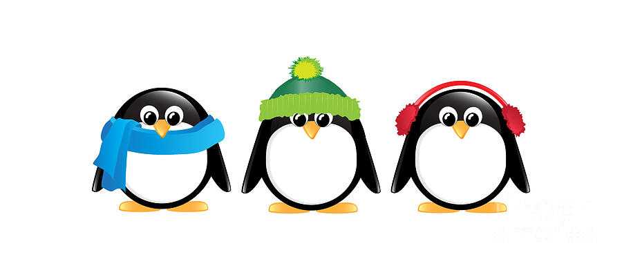 Penguins Isolated Digital Art  - Penguins Isolated Fine Art Print