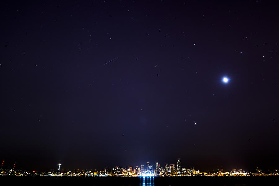 Perseid Meteor In Seattle Photograph  - Perseid Meteor In Seattle Fine Art Print