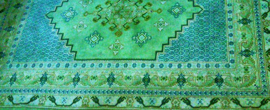 Green Photograph - Persian Rug by Unique Consignment
