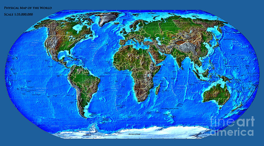 Physical Map Of The World Digital Art  - Physical Map Of The World Fine Art Print