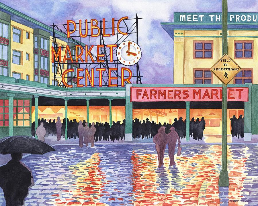 Pike Place Lights Painting  - Pike Place Lights Fine Art Print