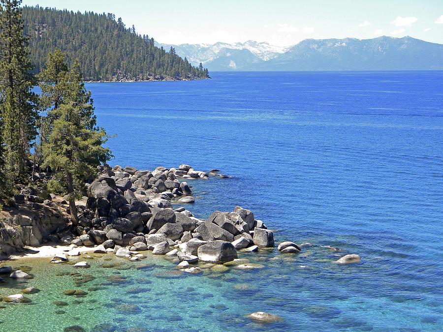 Lake Tahoe Photograph - Pines Boulders And Crystal Waters Of Lake Tahoe by Frank Wilson