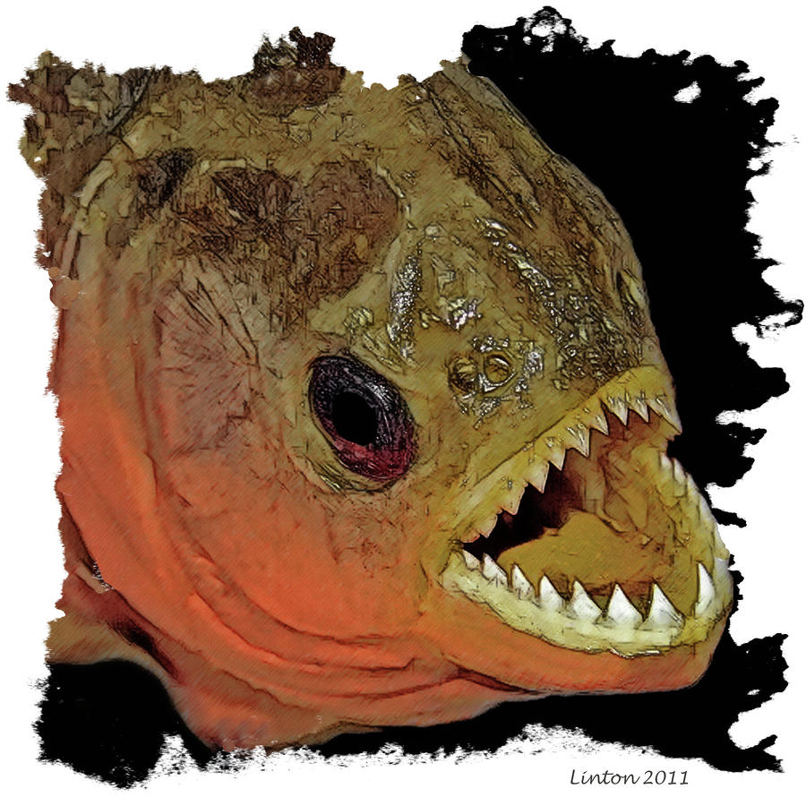 Piranha Digital Art  - Piranha Fine Art Print