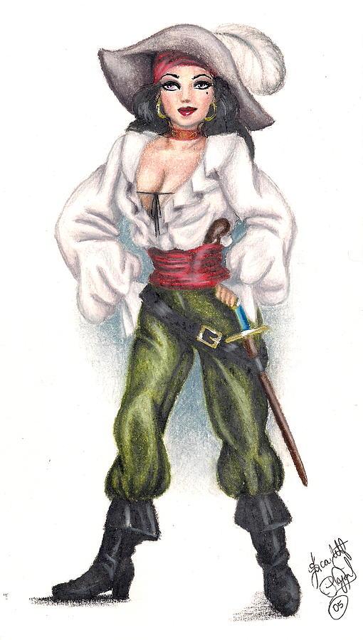 Female pirate drawing - photo#6