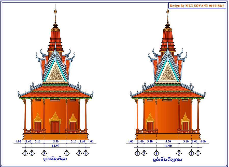 plan buddhist temple of kratie province by khmer sculpture