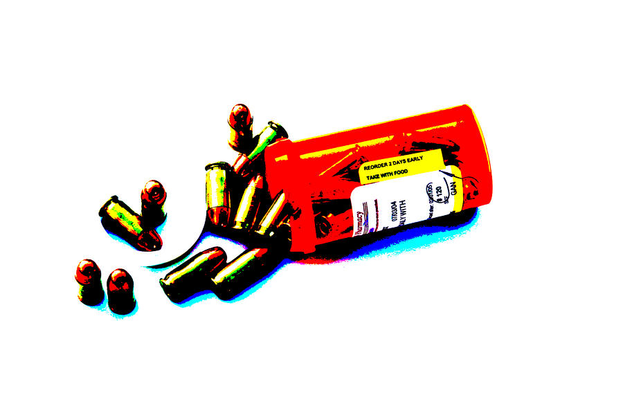 Pop Art Of .45 Cal Bullets Comming Out Of Pill Bottle Photograph 