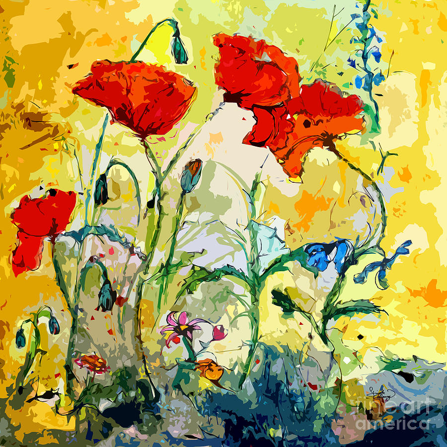 Poppies Provencale Painting  - Poppies Provencale Fine Art Print