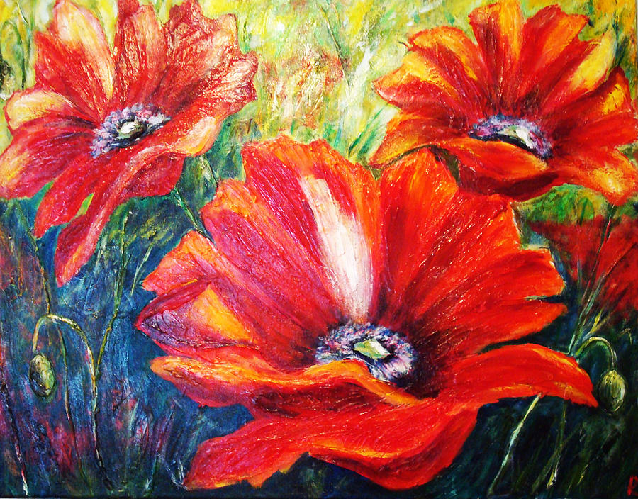 Poppy Flowers In Bloom PaintingPoppy Flowers Painting