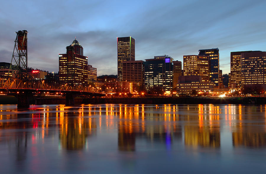 Portland Oregon At Dusk. Photograph  - Portland Oregon At Dusk. Fine Art Print
