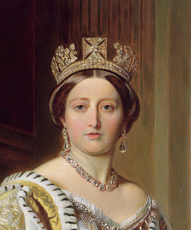 Female; Head And Shoulders; Crown; Ermine-trimmed Robe; Ermine; Jewellery; Jewelry; Queen; Royal; Imposing; Regal; Robes; Official; Formal; Young; Youth Painting - Portrait Of Queen Victoria by Franz Xavier Winterhalter