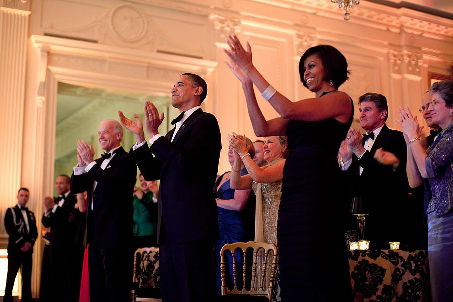 President And Michelle Obama Applaud Photograph  - President And Michelle Obama Applaud Fine Art Print