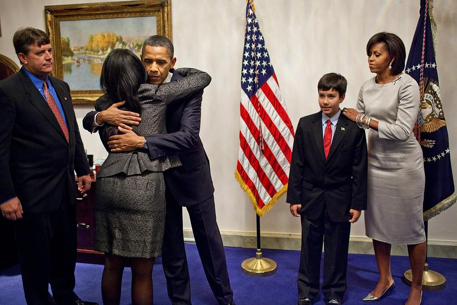 History Photograph - President And Michelle Obama Greet by Everett