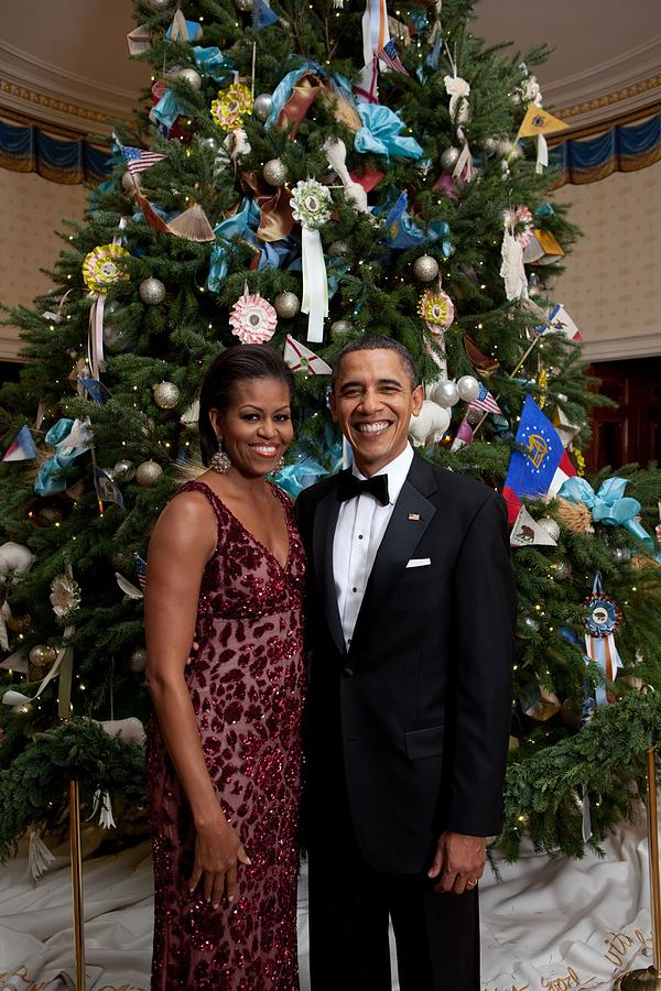 President And Michelle Obama Pose Photograph  - President And Michelle Obama Pose Fine Art Print