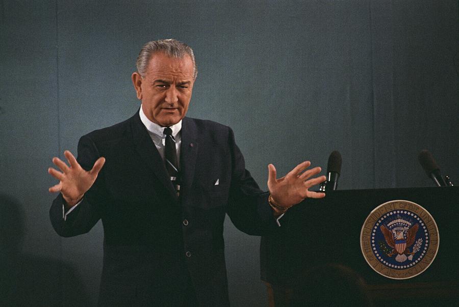 President Lyndon Johnson Speaks Photograph