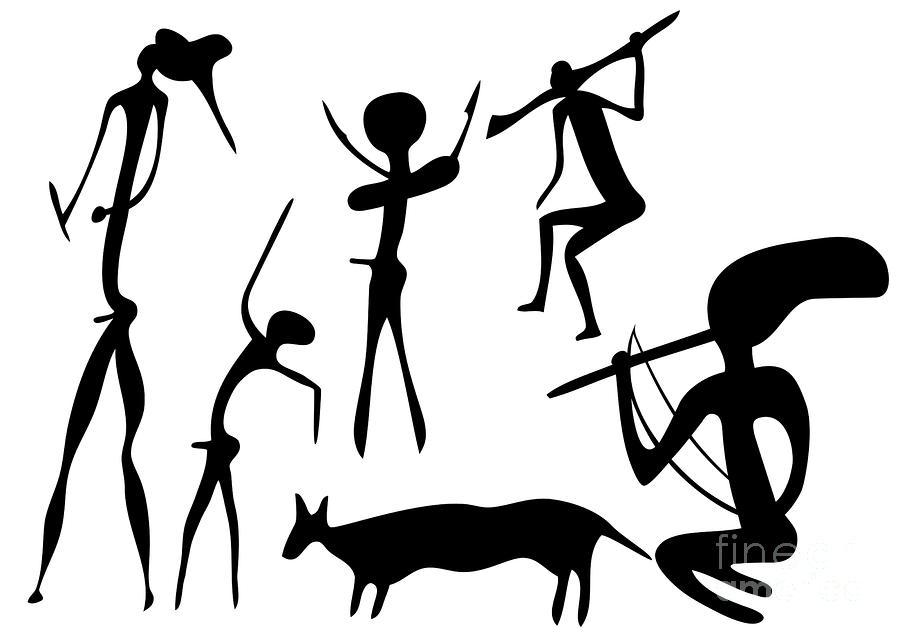 Primitive Art - Various Figures Drawing