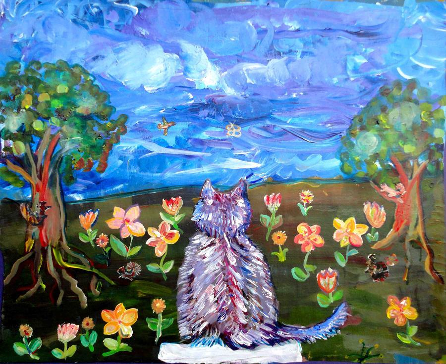 Purple Cat Painting