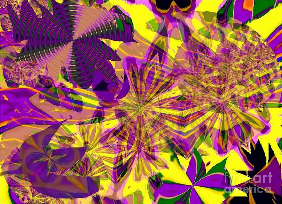 Purple Flowers On Yellow Painting  - Purple Flowers On Yellow Fine Art Print