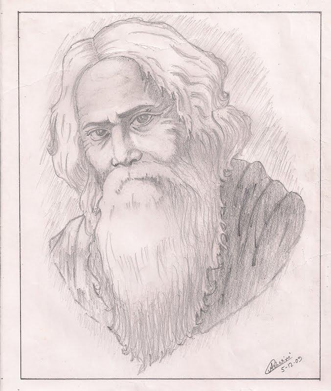 Rabindranath Tagore Drawing  Rabindranath Tagore Sketch Picture