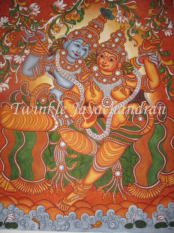 Radha krishna a divine love by twinkle sanjay for Cost of mural painting