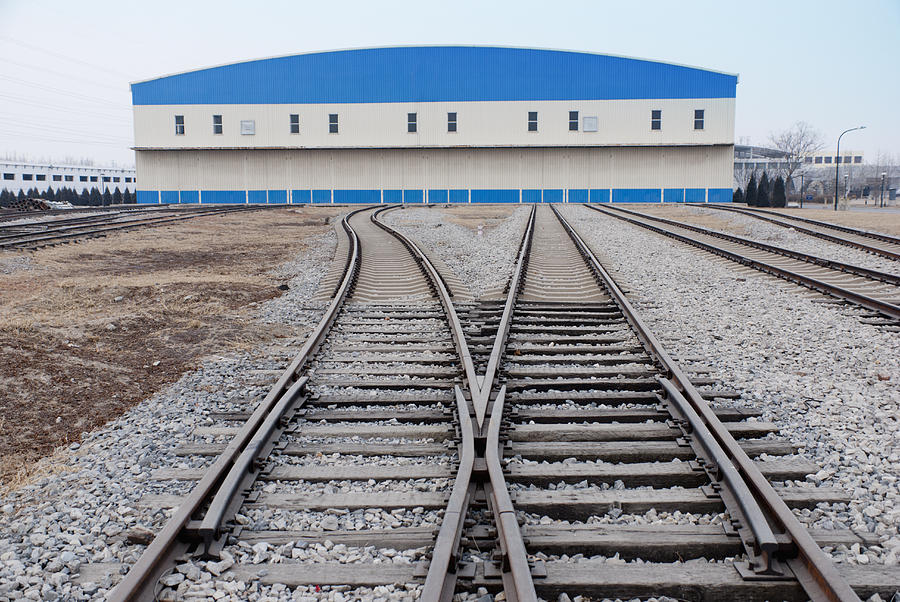 Railway Shed And Sidings. Bright Blue Photograph  - Railway Shed And Sidings. Bright Blue Fine Art Print