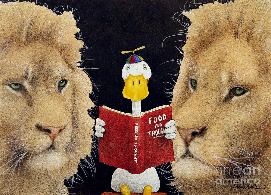 Reading Between The Lions... Painting  - Reading Between The Lions... Fine Art Print