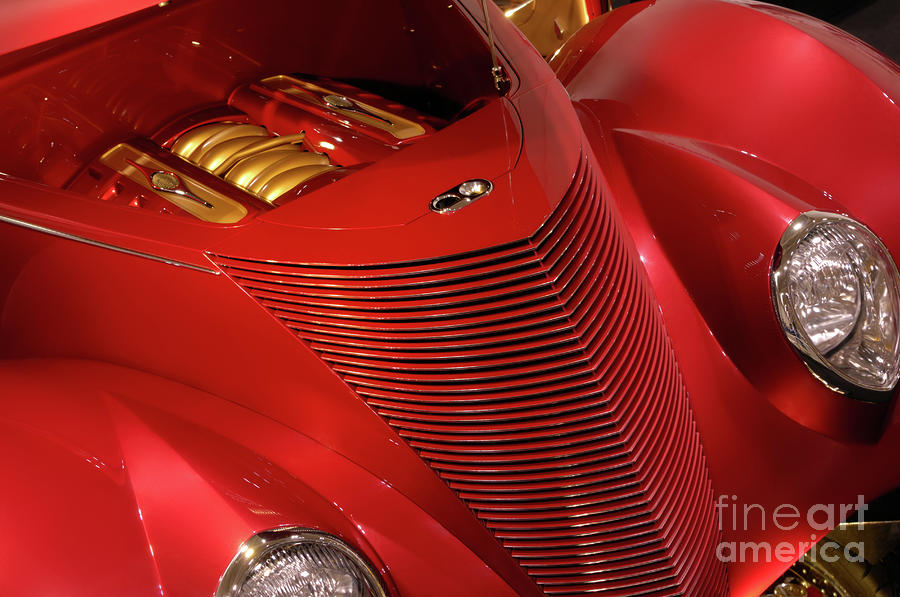 Red Classic Car Details Photograph