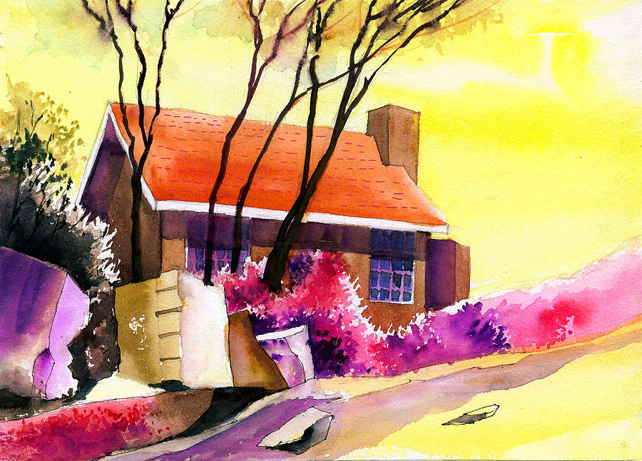 House Painting - Red House by Anil Nene