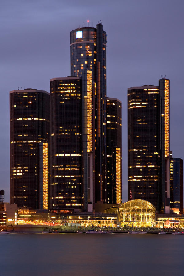 Renaissance Center At Dusk Photograph  - Renaissance Center At Dusk Fine Art Print