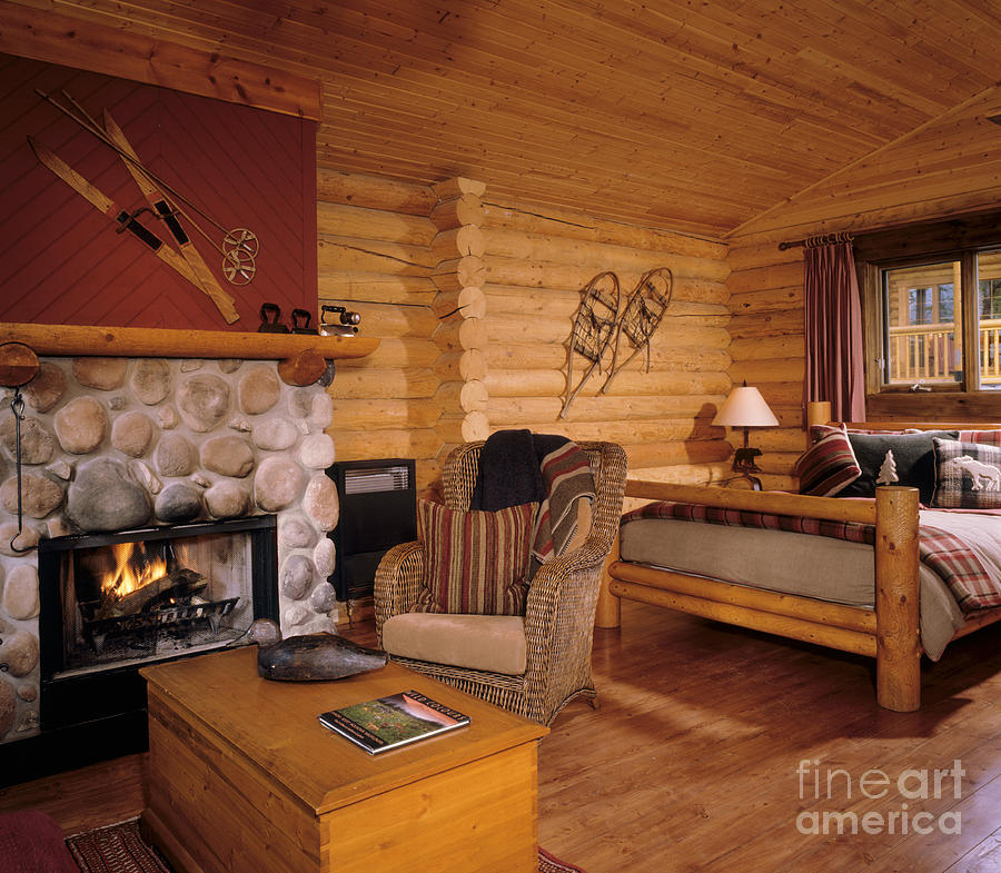 Resort Log Cabin Interior Photograph  - Resort Log Cabin Interior Fine Art Print