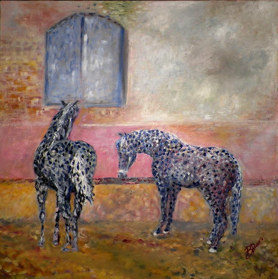 Horses Painting - Resting by B Russo