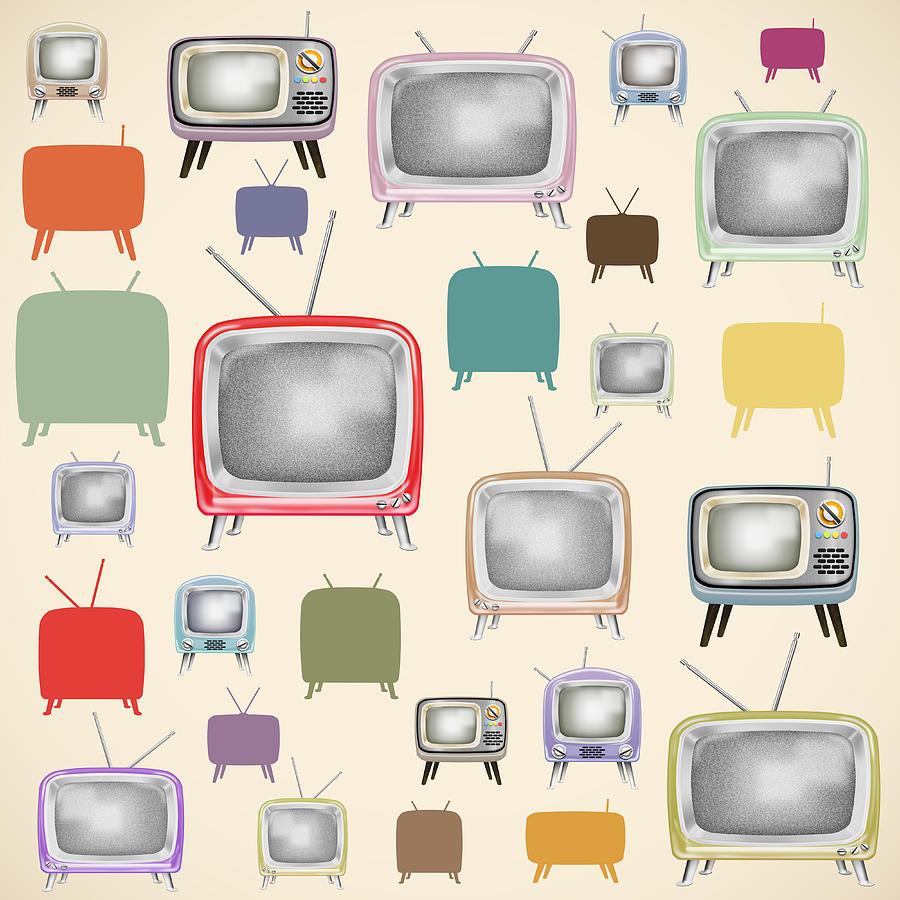 retro TV pattern  Painting
