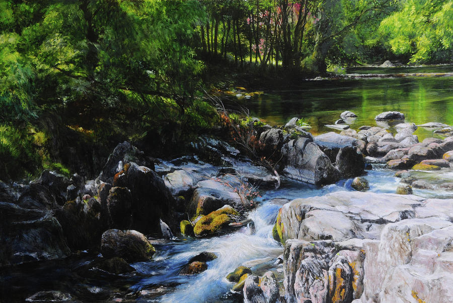 River In Wales Painting  - River In Wales Fine Art Print