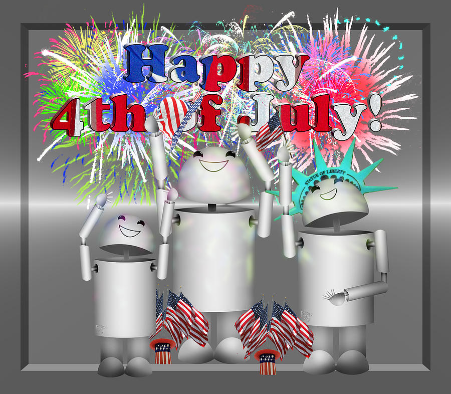 Robo-x9 Celebrates Freedom Mixed Media  - Robo-x9 Celebrates Freedom Fine Art Print