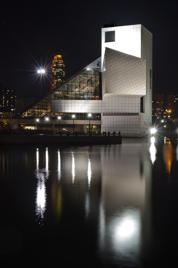 Rock And Roll Hall Of Fame At Night Photograph  - Rock And Roll Hall Of Fame At Night Fine Art Print