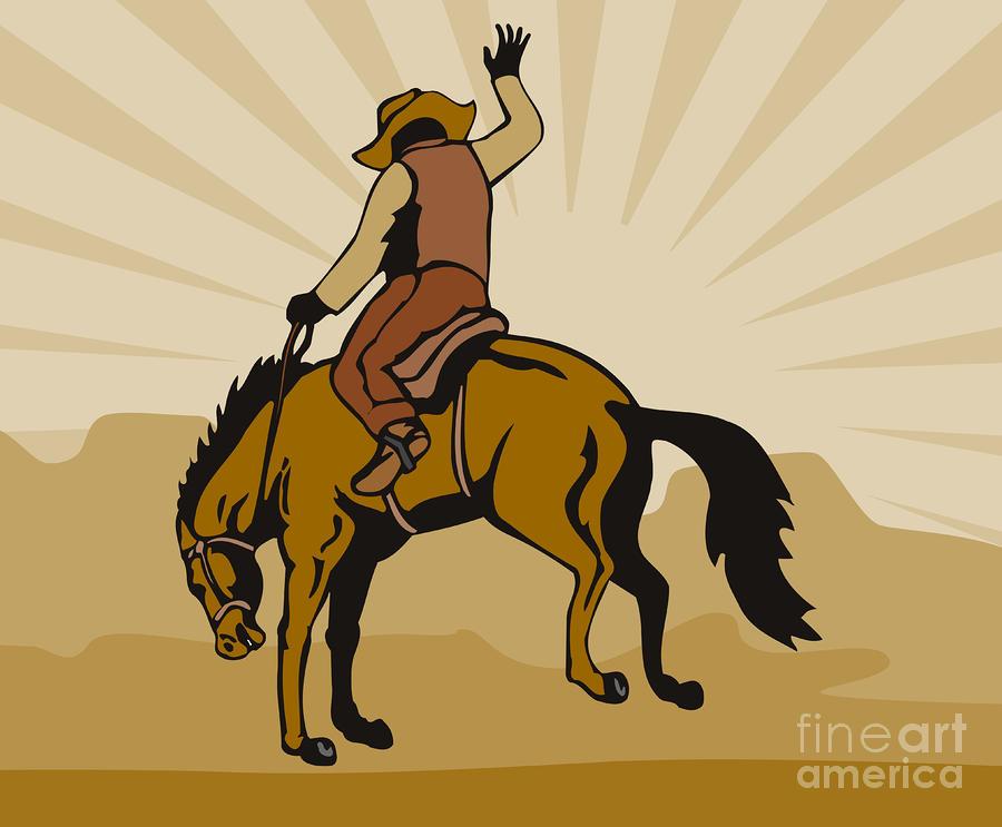 Rodeo Cowboy Bucking Bronco Digital Art