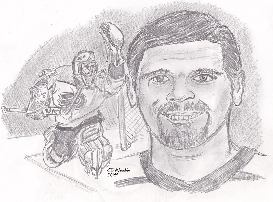 Flyers Drawing - Ron Hextall by Chris  DelVecchio
