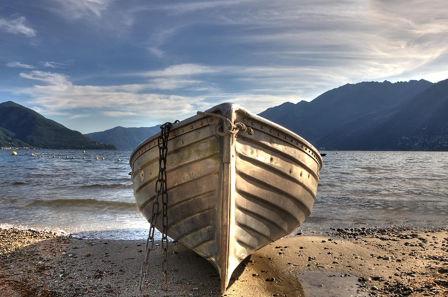 Rowing Boat On Lake Maggiore Photograph  - Rowing Boat On Lake Maggiore Fine Art Print